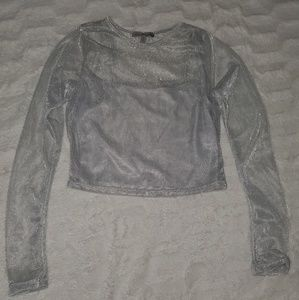 Silver Long Sleeve Crop Top, 2 in 1 Shirt